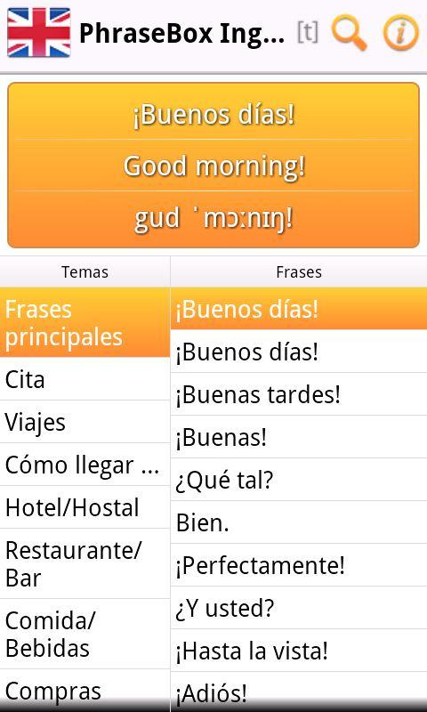 Phrasebox Inglés Gb Es Una Guía De Conversación Para Android